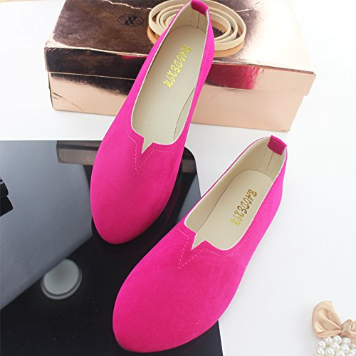 Flat Suede Rose pointed shallow shoes mouth thin Plastic Red heel Women's 1WHfnq
