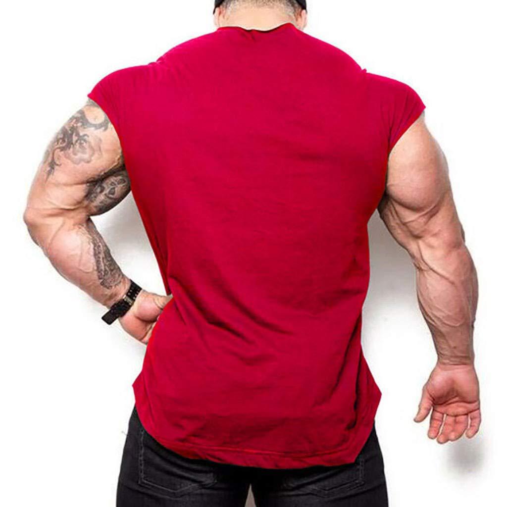 Xiloccer Mens New Summer Cotton Fitness Vest Letter Printed Blouse for Leisure Running