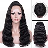 Auspiciouswig 360 Lace Frontal Wigs 150% Density Body Wave Virgin Brazilian Human Hair Full Lace Front Wigs with Baby Hair Pre plucked for Women (16 Inch Natural Color, 360 Lace Wig)