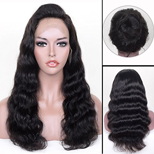 Auspiciouswig 360 Lace Frontal Wigs 150% Density Body Wave Virgin Brazilian Human Hair Full Lace Front Wigs with Baby Hair Pre plucked for Women (14 Inch Natural Color, 360 Lace Wig) by AUSPICIOUSWIG