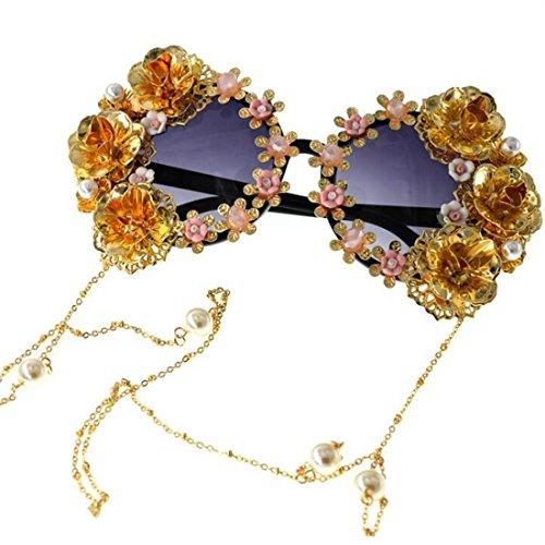 Colygamala Women's Metal Flower Vintage Chains Eyewear Sun Glasses Fashion Luxury Baroque Sunglasses With Case ()