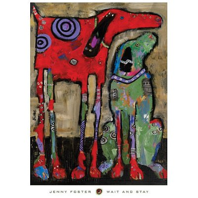 Wait and Stay Colorful Dogs Art Print Poster Print by Jenny