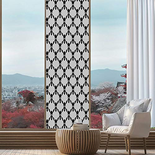 YOLIYANA Privacy Window Film Decorative,Gothic,for Glass Non-Adhesive,Halloween Horror Theme Spooky Black Skulls Checkered Pattern,24''x78'']()
