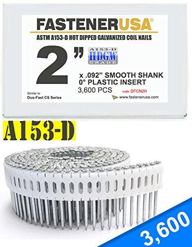 2'' x .092 SMOOTH A153-D HOT DIP COIL NAILS 0 DEGREE PLASTIC 3.6M Box