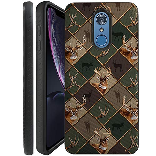(CasesOnDeck Case Compatible with [LG Stylo 4   LG Stylo 4+] Stylo 4 Plus Case, Dual Layer Hybrid Combat Shock Shell Embossed Strip Case (Deer Emblem Pattern))