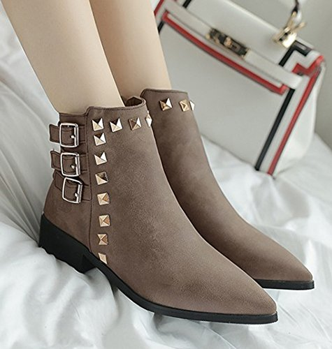 Strap Studded With Aisun Booties Up Women's Buckle Zip Zipper Low Chunky Pointed Heel Short Boots Inside Ankle Coffee Toe 1PtEtZyr