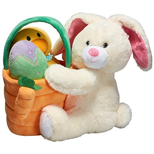 Pretex Plush Easter Basket with Bunny and Chick