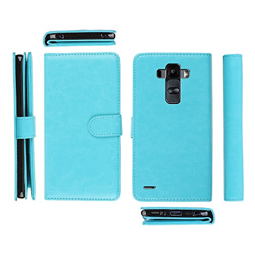 NextKin LG G Stylo LS770 G4 Note G Vista 2 H740 2nd Case, Premium PU Leather Dual Wallet Folio TPU Cover, 2 Large inner Pockets Double flap Privacy, 9 Card Slots Holder Magnetic Closure - Sky Blue (Lg G Vista Wallet Phone Case compare prices)