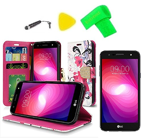 Shield Protector Magenta Case (Wallet Pouch Cover Phone Case + Screen Protector + Extreme Band + Stylus Pen + Pry Tool For LG M322 X Series X Charge Xfinity Mobile / K10 Power M320TV (Wallet Pouch Magenta Flower))