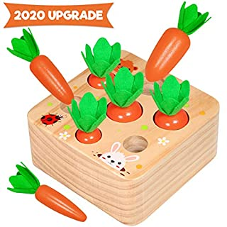 Aitbay Educational Wooden Toys for Toddlers, Carrots Harvest Shape Size Sorting Game, Developmental Montessori Toys for 1 2 3 Year Old Boys and Girls Preschool Learning Fine Motor Skill