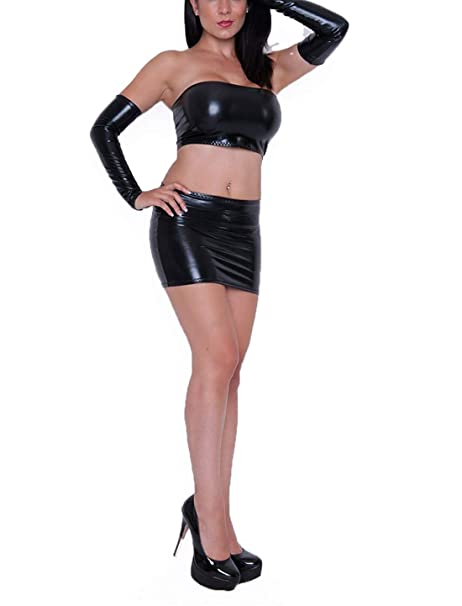 beb91546f3 Mpitude Women s Fantasy Costume 3 Piece Black Leather Look Babydoll Set  Sexy Costume with Mini Skirt Tube Bra Hand Gloves  Amazon.in  Clothing    Accessories
