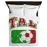 Queen Duvet Cover Italy Soccer Grunge Italian Flag
