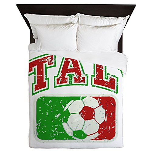 Queen Duvet Cover Italy Soccer Grunge Italian Flag by Royal Lion