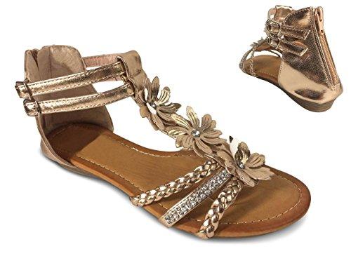 Schuhtraum Damen Sandalen Blumen Glitzer Nieten Sandaletten Keilabsatz Riemchen ST8 Champagner