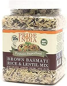 El orgullo de la India - Indian Basmati Arroz y lentejas kitchari Mix - proteína súper, 1,5 libra tarro - arroz basmati y lentejas China Técnica ...