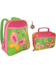 Stephen Joseph Girls Butterfly Backpack and Lunch Box with Zipper Pull