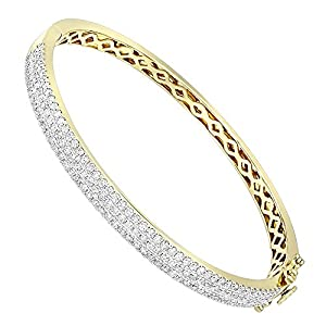 Ladies 14K Rose, White or Yellow Gold Designer Diamond Bangle Bracelet 2ctw (Yellow Gold)