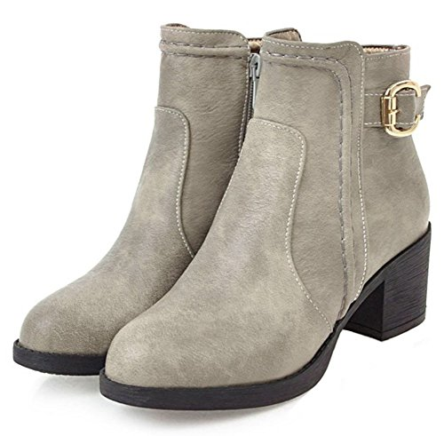 Easemax Women's Lovely Round Toe Zip Up Mid Chunky Heel Ankle High Boots Grey ESWPsGvW