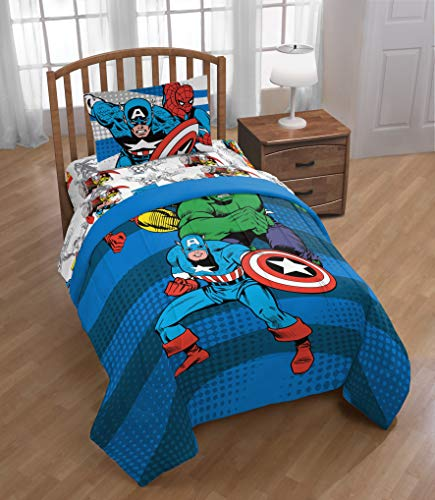 JF23770TCD Super Soft Kids Reversible Bedding features Hulk Marvel Avengers  Publish Twin Comforter and Captain America Official Marvel Product Iron Man Fade Resistant Polyester Microfiber Fill Jay Franco and Sons Inc
