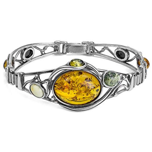Noda Bracelet en ambre de la Baltique Argent Sterling 18 cm