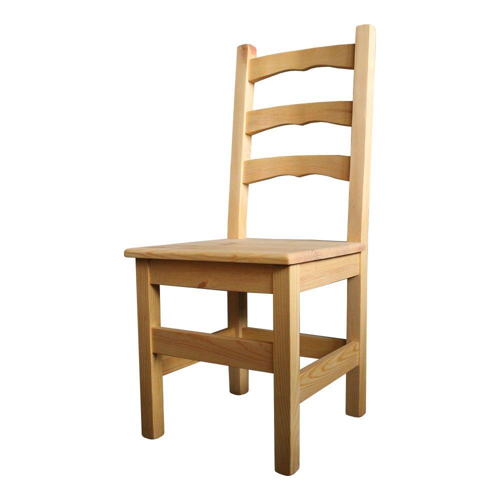 Elean Kuechenstuhl (HSL-01) Holzstuhl Esszimmerstuhl Stuhl mit Lehne Kiefer massiv vollholz zusammengebaut 14 Farbvarianten (Natur geölt)
