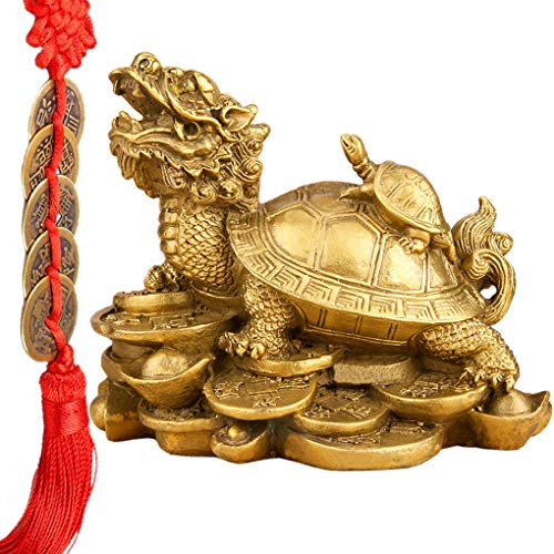Feng Shui Wealth Prosperity Brass Dragon Turtle Statue Golden Good Luck Sculpture Free Set of 5 Lucky Charm Ancient Coins on Red String Chinese Charm of Prosperity Housewarming Congrat (Dragon Turtle) (Coin Gold Set Dragon)