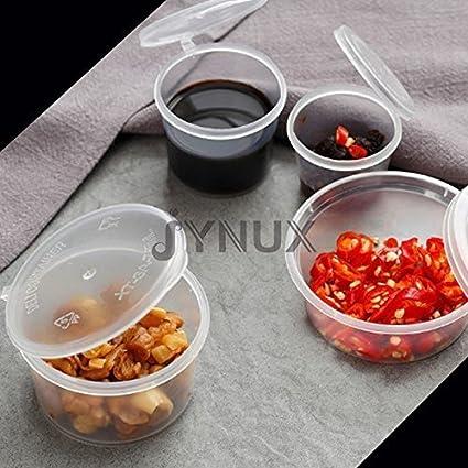 Jynux® - Tazas en plástico reutilizable para salsas (cierre hermético