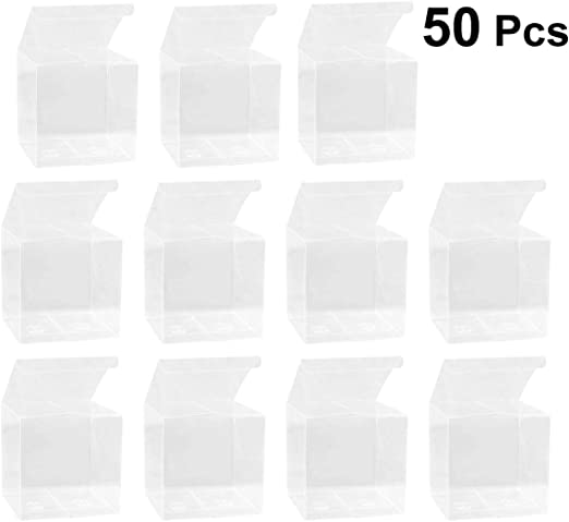 50 piezas Caja de embalaje de PVC transparente de plástico transparente de Caja transparente de manzana de caramelo para regalo de boda: Amazon.es: Hogar