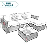 PHI Villa 3 Piece New Outdoor Furniture Sectional Sofa Patio Set with Upgrade Rattan Wicker