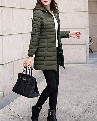 Longue Chaud Manteau Parka D'hiver Duvet Vert Taille Veste L En coloré Femme Vert Outwear YYEBxT