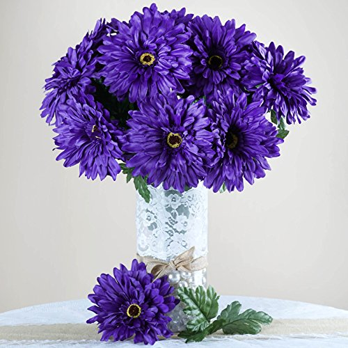 Purple Daisy Flower (Efavormart 28 Artificial GERBERA Daisy Wedding Flowers Bushes - Purple)