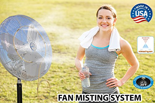 Misting System Steel Stainless (Fan Mist Kit for Outdoor Cooling - Low Pressure Fan Misting System - Brass/Stainless Steel Misting Nozzles)