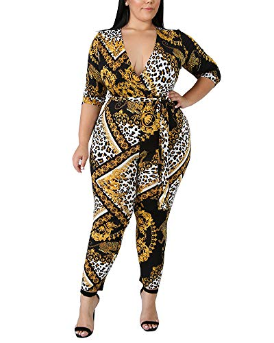 b6c5768eadb Amazon.com  lexiart Plus Size Jumpsuits for Women - Sexy Stretchy Jumpsuits  V Neck Long Sleeve African Rompers  Clothing