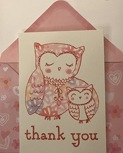 12 Count Pink Glitter Owls Boxed Thank You Note Cards - Elegant Whimsy Glitter Stationery Set
