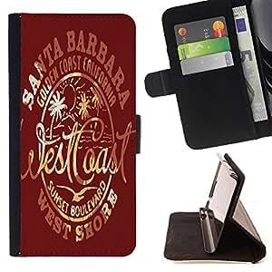 Skull Market - FOR Samsung Galaxy S6 - make me whenever - Caja de la carpeta del tir¨®n del cuero de la PU [con ranuras para tarjetas y cierre de solapa magn¨¦tica] P¨¢rese cubierta de la caja