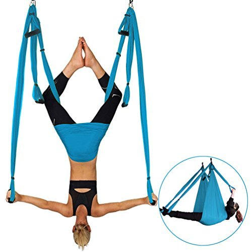 Yoga Swing, Ultra Strong Antigravity Yoga Hammock, Aerial Flying Hammock, Sling, Inversion Tool Yoga Fitness for Air Yoga Inversion Exercises, Blue