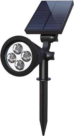 TZZ Focos solares LED, Lámparas Exteriores súper Brillantes de 250LM para jardín, Auto-Encendido por la Noche/Apagado automático por día, ángulo de 180 ° Ajustable para Patio, Cubierta, Pared: Amazon.es: Hogar