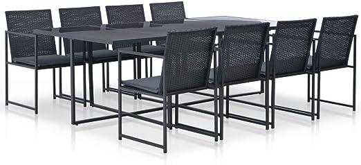 Fesjoy Conjunto de Muebles de jardín Juego de Mesa de Comedor de ratán 1 Tabla, 8 sillas y 8 Cojines en Resina Trenzada. para Jardin, Patio o terraza Negro: Amazon.es: Hogar