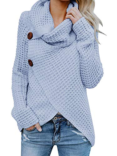 Huiyuzhi Women Button Down Long Sleeve Turtleneck Knit Hooded Cardigan Sweater Coat (M, Light Blue) ()