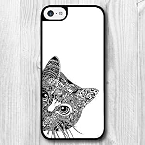 For iPhone 5C Case, Fashion Design Peep Cat Pattern Protective Hard Phone Cover Skin Case For iPhone 5C +Screen Protector