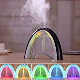 Miyare 400ml 3 in 1 Design Mist Air Humidifier Diffuser USB New Rainbow Model with Message Board 7 Color Night Lights Whisper-quiet Operation Changing Auto Shut-Off (Black)