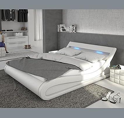 Muebles Bonitos - Cama de Matrimonio Carol 160x200cm Blanco con Led ...
