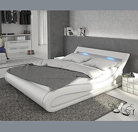 Letto design Carol con LED, 180 x 200 cm, colore: bianco: Amazon.it ...