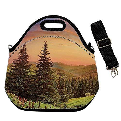 Forest Portable Neoprene Lunch Bag,Heaven Like View with Fir Trees Pines Spruce on Sidehills at Dawn Outdoors for Work Office Picnic Travel Mom Bag,With Shoulder Straps(12.6''L x 6.3''W x 12.6''H)