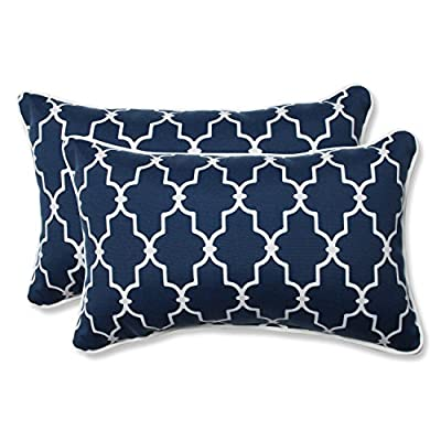 Pillow Perfect Outdoor/Indoor Garden Gate Rectangular Throw Pillow (Set of 2), Navy - Includes two (2) outdoor pillows, resists weather and fading in sunlight; Suitable for indoor and outdoor use Plush Fill - 100-percent polyester fiber filling Edges of outdoor pillows are trimmed with matching fabric and cord to sit perfectly on your outdoor patio furniture - patio, outdoor-throw-pillows, outdoor-decor - 51uta g3WvL. SS400  -