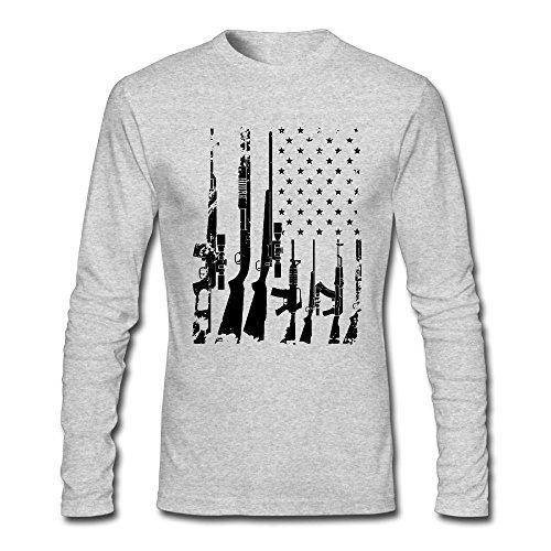Distressed Usa Gun Flag Mens Tshirt Long Sleeve Under Shirt Outer Clothing For Men