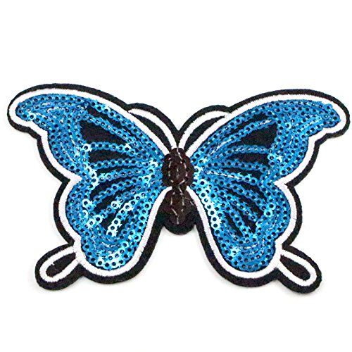 11 3Cm Sequins Butterfly Iron On Or Sew On Garment Patch  Royal Blue 2Pcs