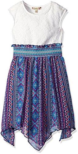 Speechless Girls' Big Banded Lace to Chiffon Hanky Hem Dress, Ivory/Navy, - Chiffon Hem Dress Hanky