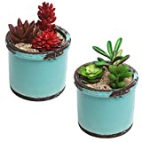 Cheap Rustic Style Ceramic Succulent Planters, Small Round Flower Pots, Set of 2, Teal