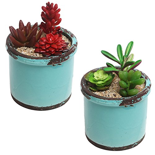 Rustic Style Ceramic Succulent Planters, Small Round Flower Pots, Set of 2, Teal (Vintage Pot Holders)